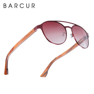 BARCUR Fashion Round Design Women Sunglasses Metal Frame Polarized Lens Laminated Ebony Wood Temple