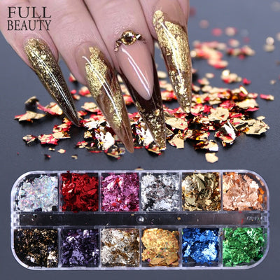 12 Grid Nail Sequins Paillette Aluminum Irregular Flakes
