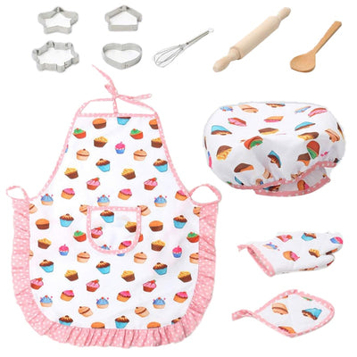 Kids Cooking Apron Set - 11Pcs