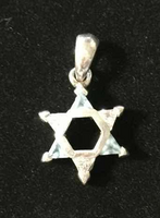 Sterling Silver Star of David Pendant with Blue and Clear Crystals