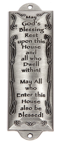 "Pewter 4.5"" Mezuzah - Blessing for the Home"