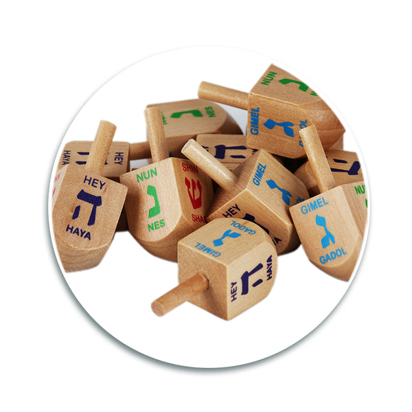Dreidels - Natural Wood - Medium Size