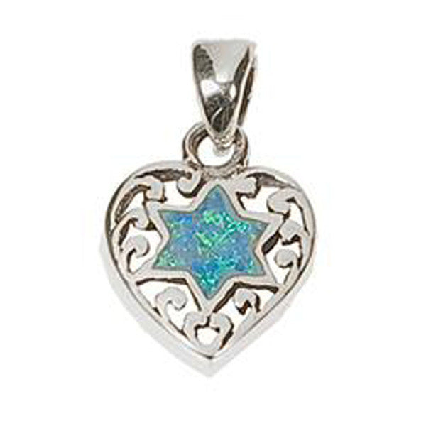 "Opal ""Star of David"" inside Heart"