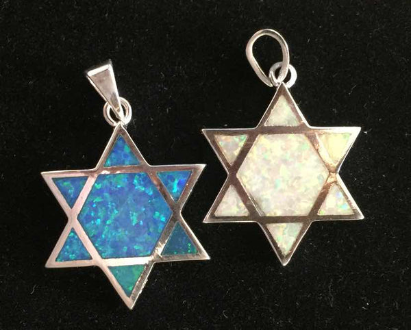 Star of David Double Sided Blue & White Opal
