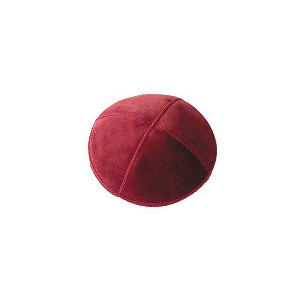 Suede Leather Red Kippah