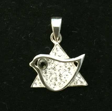 """Star of David"" Dove with crystals"