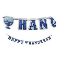 Happy Hanukkah Holographic Letter Banner on Ribbon 75''