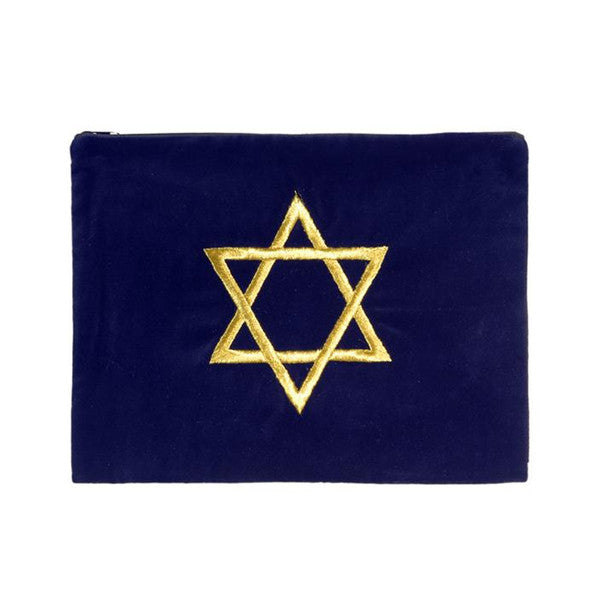 Tallit Bag Star of David on Dark Blue Velvet