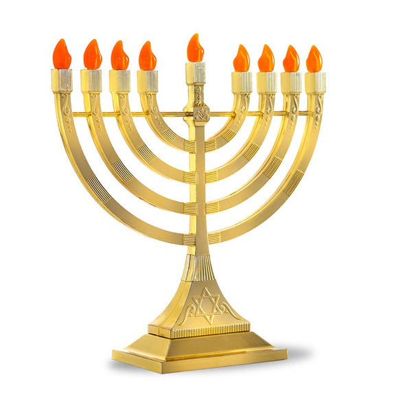 LED Electronic Menorah - Battery or USB Powered - Gold