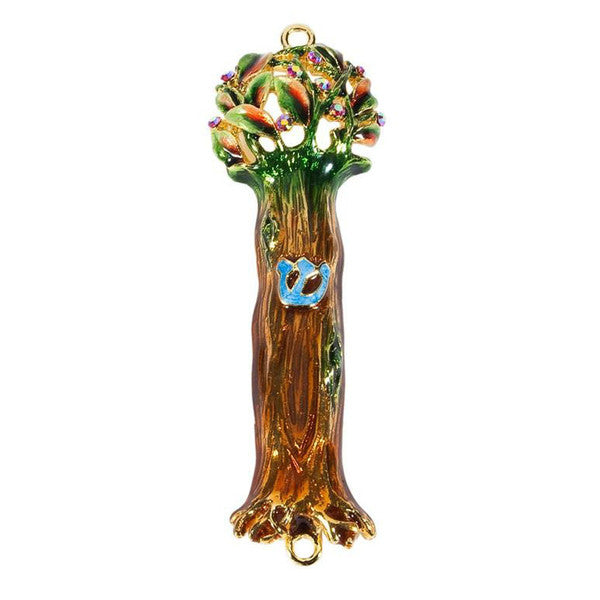 """Tree of Life"" Mezuzah Painted Pewter"