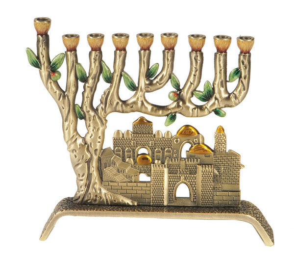 Jerusalem Pewter and Colored Enameled Hanukkiah