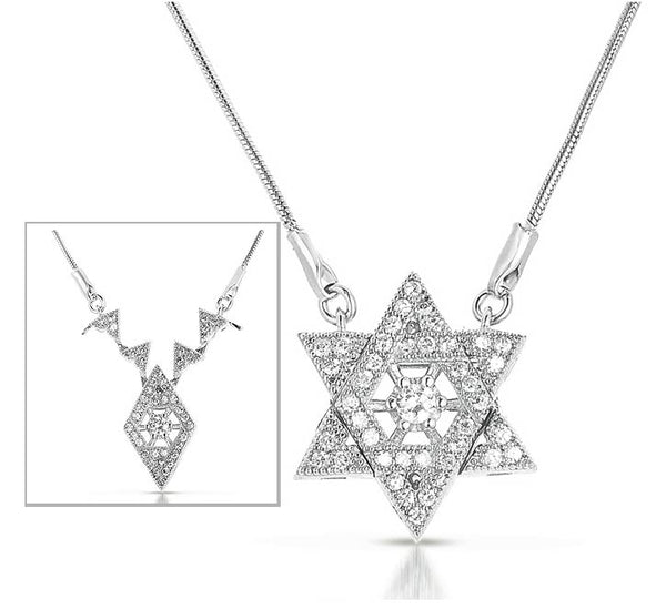Stunning Silver Star of David Necklace