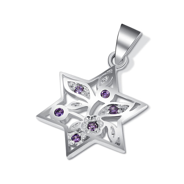 Sterling Silver Star of David Pendant -Inlaid Purple Stones