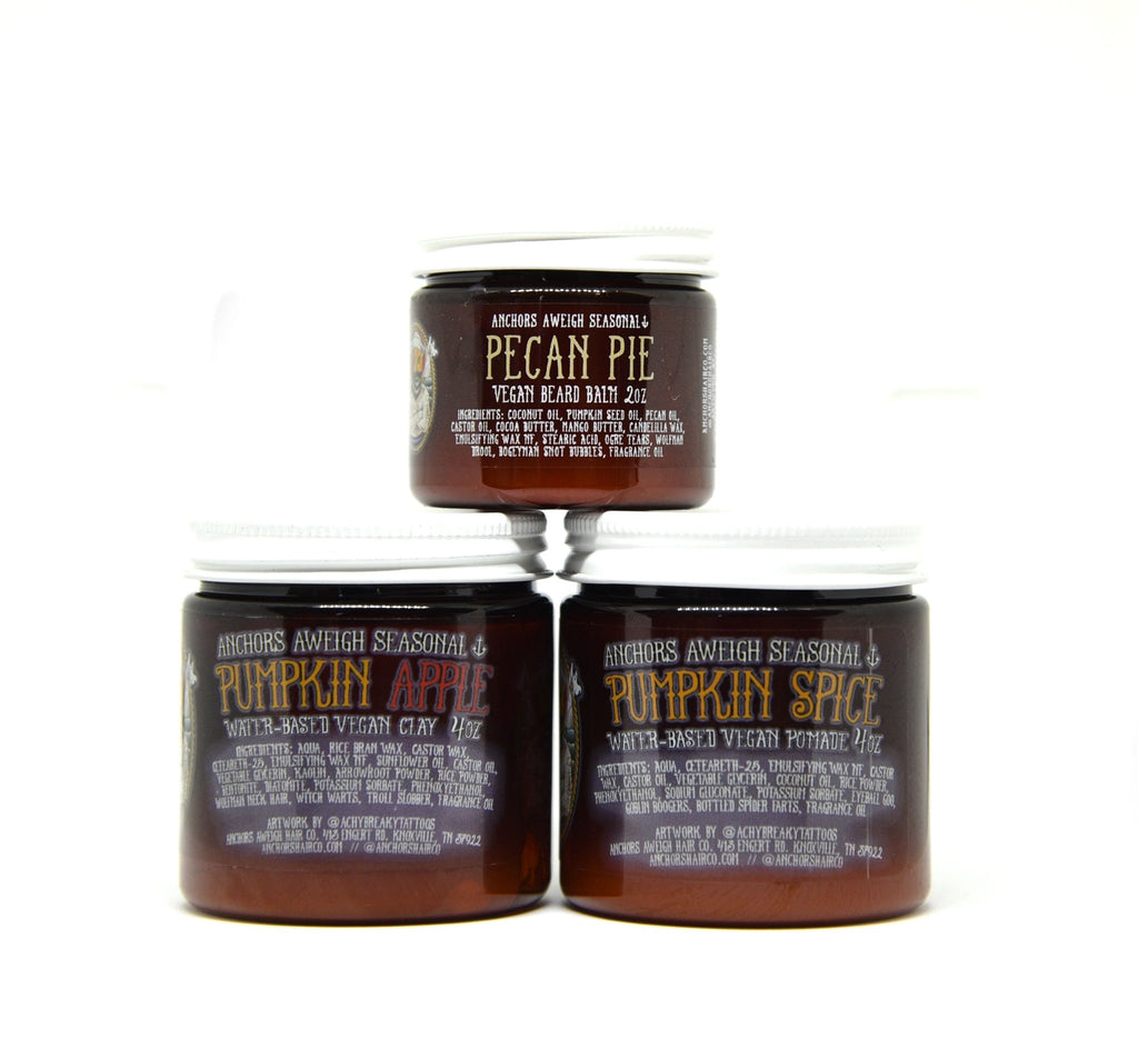 Fall Products Hair & Beard Bundle - Pomade, Clay, & Balm - Anchors Aweigh Hair, Skin, and Shave Co.