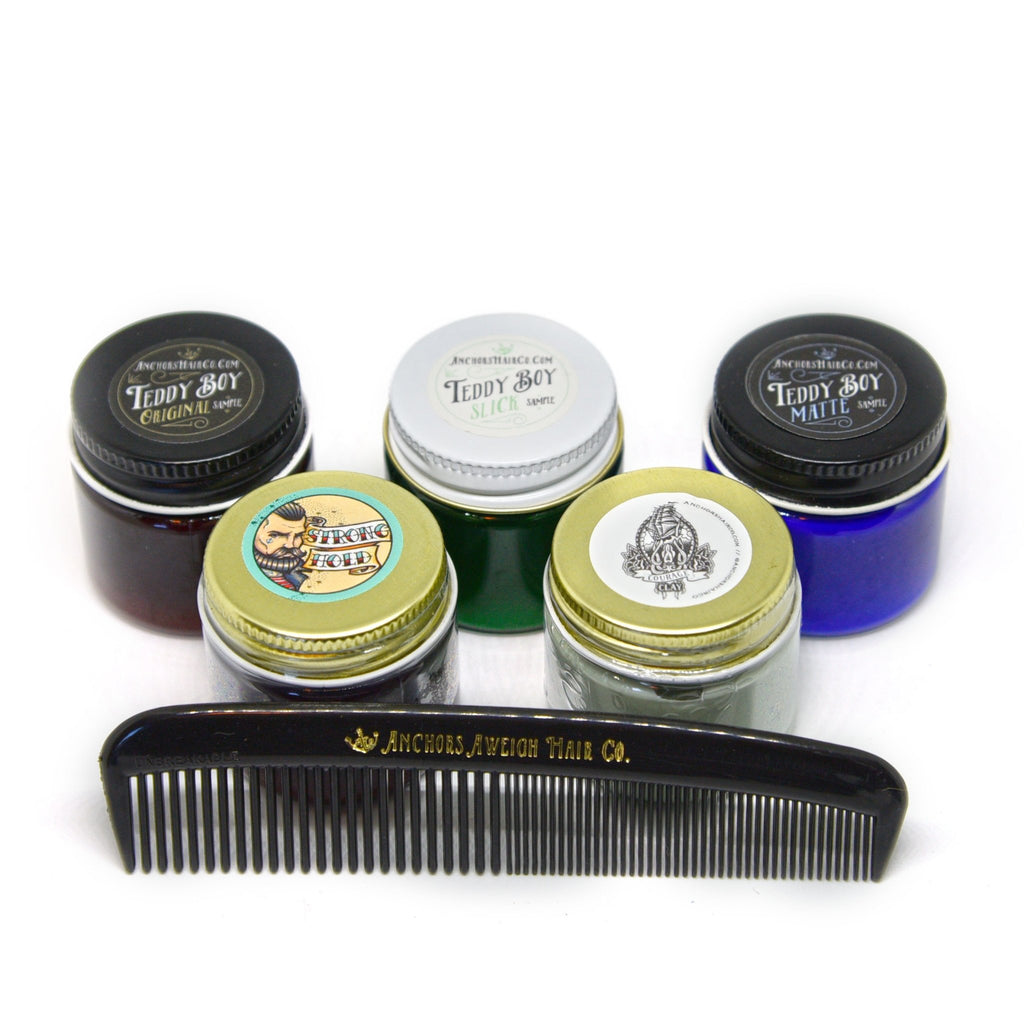 Sample Set! 5 x 1oz Styling Samples + Comb - Anchors Aweigh Hair, Skin, and Shave Co.