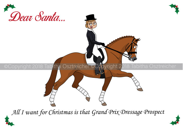 Grand Prix Dressage Christmas Card Pack of 10