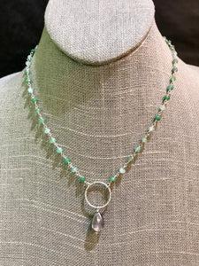 Chrysoprase and Moonstone Drop Necklace