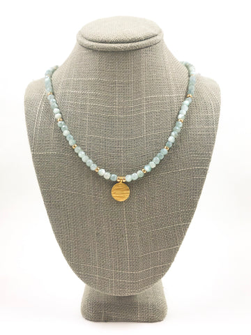 Blue Moonstone and Gold Coin Necklace