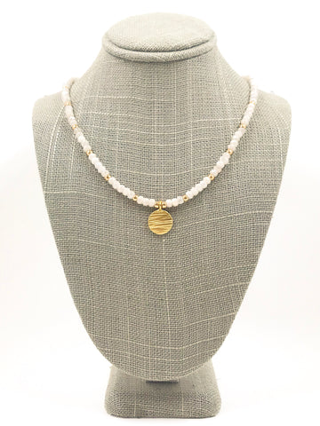 White Moonstone and Gold Filled Coin Necklace