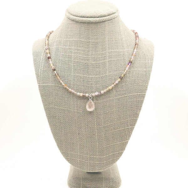 Plum Quartz and Rose Quartz Necklace