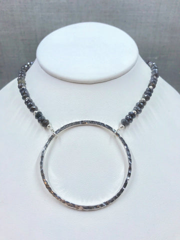 Hammered Sterling Silver Circle Necklace