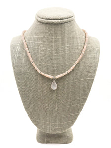 Peach Moonstone and Druzy Necklace