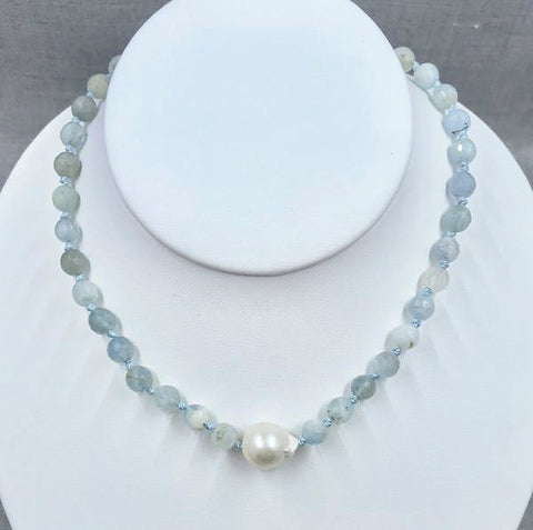 Baroque Pearl and Aquamarine Necklace