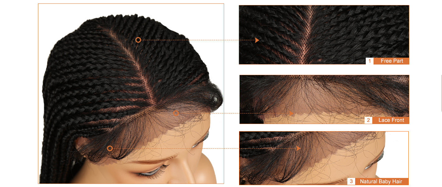 13*7 Synthetic Lace Frontal Wig | 33 Inch Long Box Braided Wig | Black Color