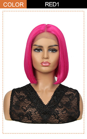 13*7 Synthetic HD Lace Frontal BOB Wig |10 inch Short Lace Wig | Hot Pink Wigs