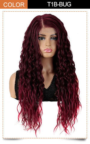 Easy 360 Synthetic HD Lace Frontal Wigs | 28 Inch Long Curly Burgundy Wig | Sophisticate