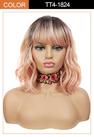 wavy bob wig with bangs orange blonde