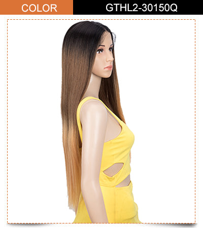 lace front long straight colorful wig