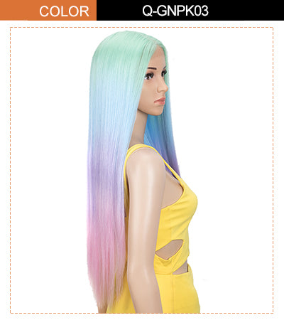 lace front long straight wig green rainbow color