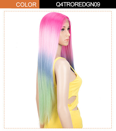 long straight wig pink rainbow color