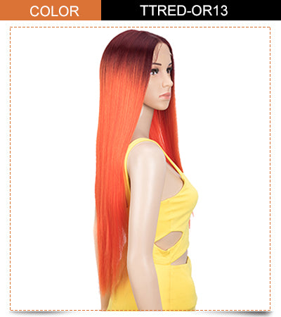 long straight wig red orange color