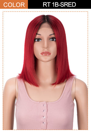 human hair lace front wig red color