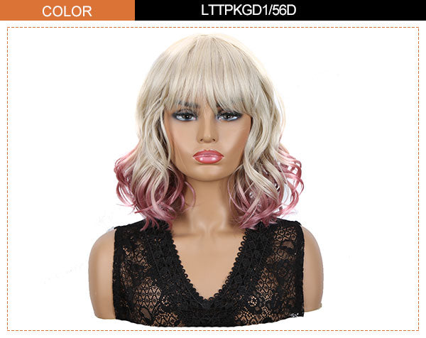 wavy bo wig ombre purple tail color
