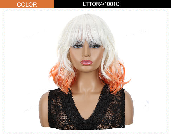 wavy bob wig ombre orange tail color