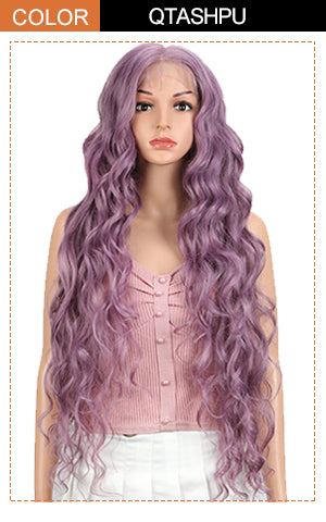 31 inch long wavy wig ash purple