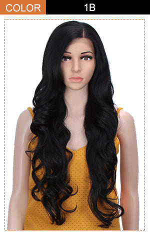 Easy 360 Synthetic HD Lace Frontal Wig | 28 Inch Long  Wavy Black Wig | Queen by Noble