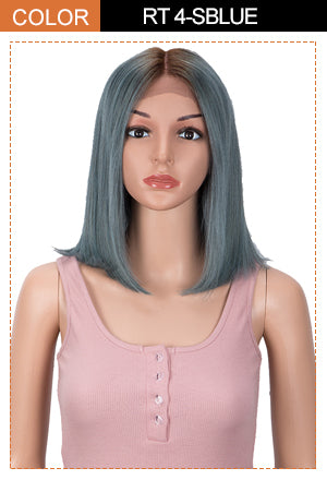 human hair grey blue bob wig