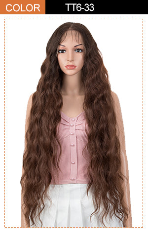 lace frotnal long wavy wig brown