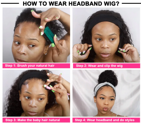 how to wear head band wigs