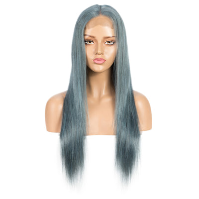 NOBLE 4*4 Lace Frontal Wigs Human Hair HD Lace| Straight Colorful Human Hair Wigs Pre-Plucked With Baby Hair | 10 -20 inch Gery Blue Wigs - Noblehair