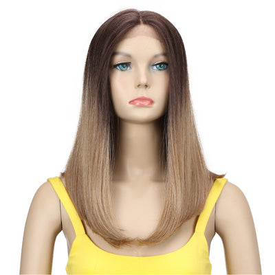 Synthetic Lace Front Wig| 16.5 Inch Over Shoulder Straight  | Ombre  Blonde|  Iman by Noble - Noblehair