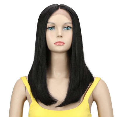 Synthetic Lace Front Wig| 16.5 Inch Over Shoulder Straight | Black Color | Iman by Noble - Noblehair