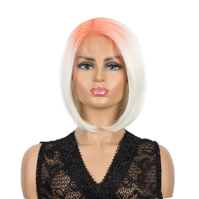 Synthetic 4*4 Lace Frontal  Bob Wigs | Ombre Orange White Color Straight Bob Wig | JULIE by Noble - Noblehair