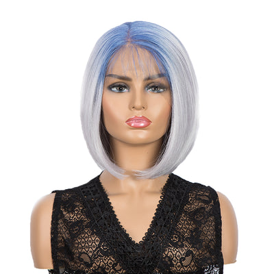 Synthetic 4*4 Lace Frontal  Bob Wigs | Ombre Silver Color Straight Bob Wig | JULIE by Noble - Noblehair