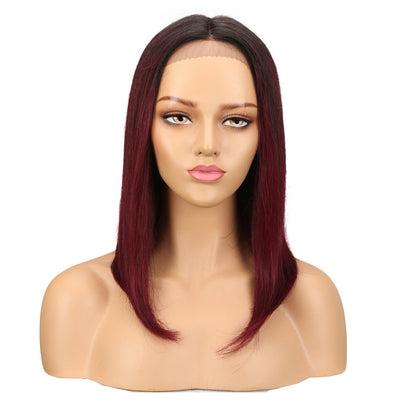 Human Hair Lace Front Wig | 16 Inch Lob Straight Hair | Ombre Red  | F Page by Noble - Noblehair