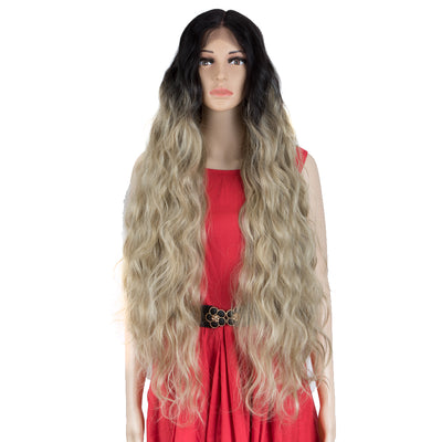 FREYA | Synthetic Lace Front Wigs|38 inch Long Wavy Wig|Ombre Gray Wig by NOBLE - Noblehair